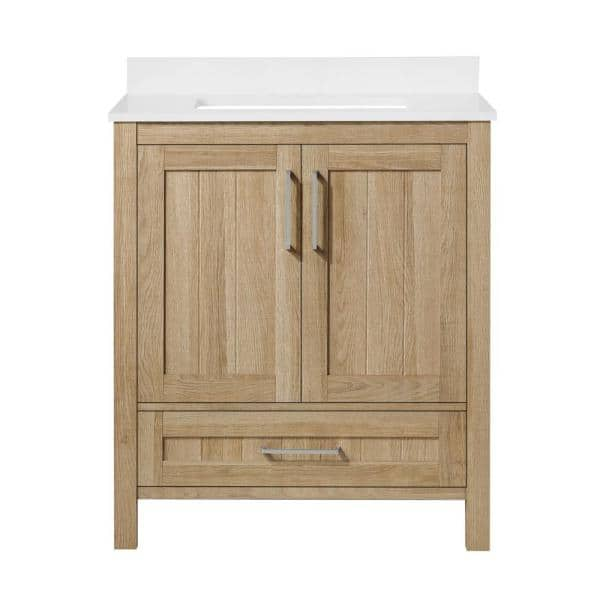 Ove Decors Kansas 30 In W Bath Vanity In White Oak With Engineered Stone Vanity Top In White 15vva Kans30 12 The Home Depot