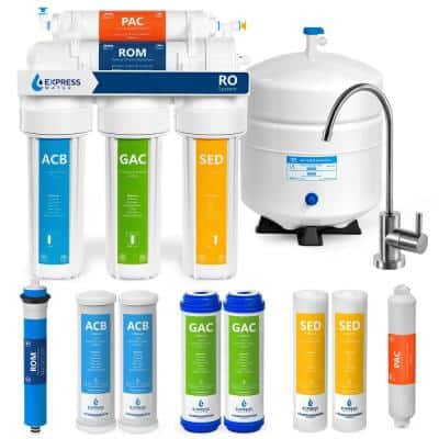 Reverse Osmosis Water Filtration System 5 Stage RO Filter with Faucet and Tank 4 Free Replacement Filters 50 GPD