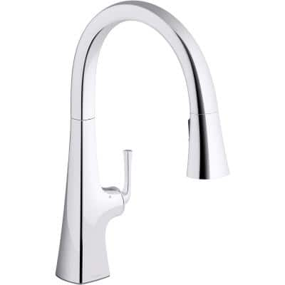 Graze Single-Handle Pull-Down Sprayer Kitchen Faucet with Response Technology in Polished Chrome