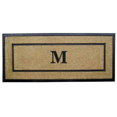 DirtBuster Single Picture Frame Black 24 in. x 57 in. Coir with Rubber Border Monogrammed M Door Mat