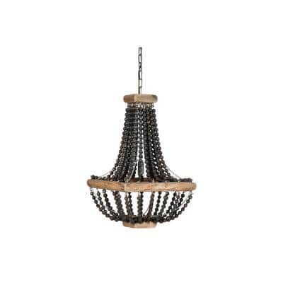 1-Light Black Wood Beaded Hanging Pendant Light