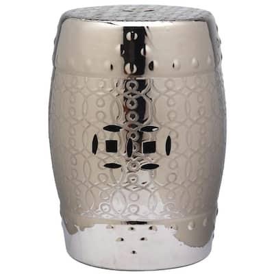 Lantana Plated Silver Ceramic Garden Stool