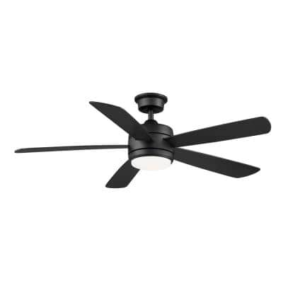 Averly 52 in. Integrated LED Matte Black Ceiling Fan with Light and Remote Control with Color Changing Technology