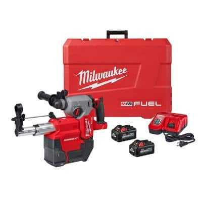 M18 FUEL 18-Volt Lithium-Ion Brushless 1 in. Cordless SDS-Plus Rotary Hammer/Dust Extractor Kit, Two 6.0 Ah Batteries