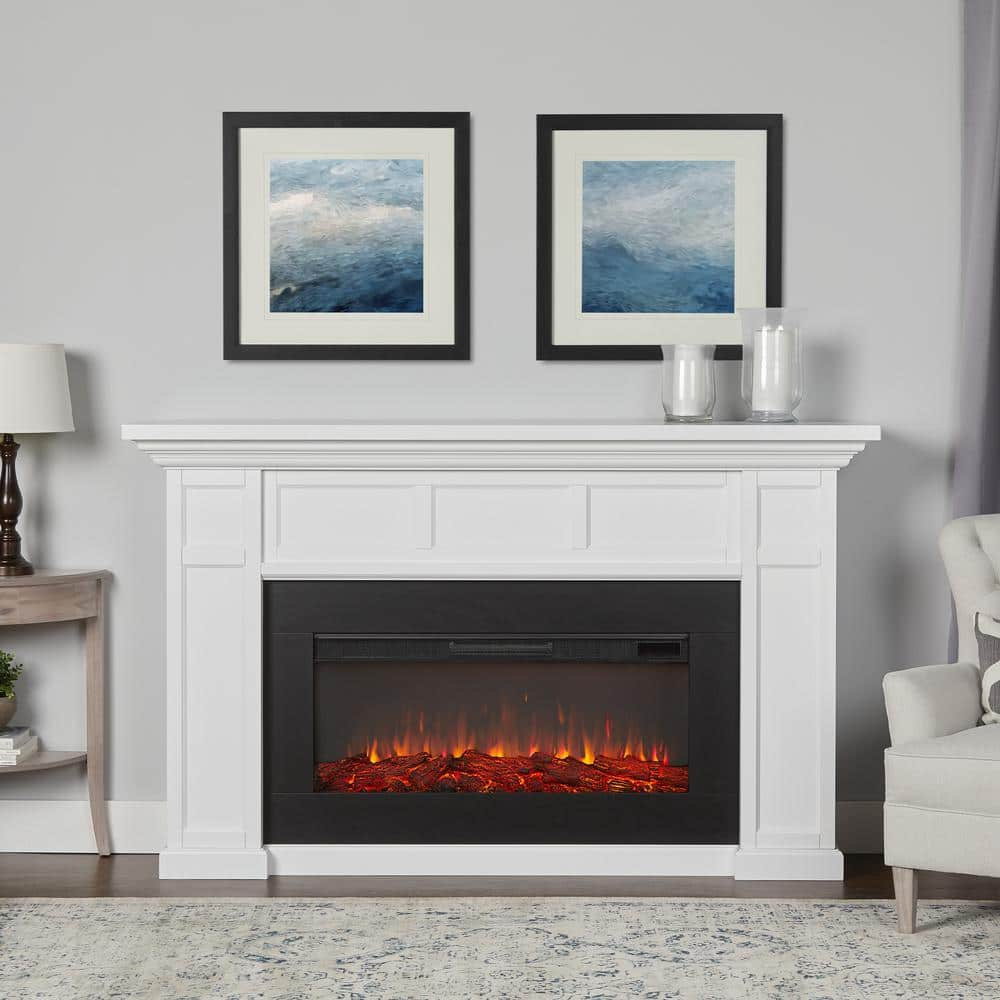Real Flame Alcott Landscape 75 In Freestanding Electric Fireplace In White 4130e W The Home Depot