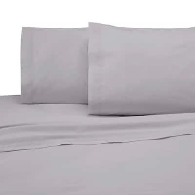 4-Piece Light Gray Solid 225 Thread Count Cotton Blend Full Sheet Set