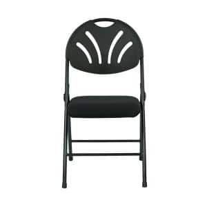 Black and Metal Fan Back with Fabric Seat Stackable Folding Chair (Set of 4)