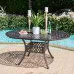 Round Aluminum Outdoor Dining Table with Extension