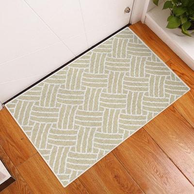 Sisal Cotton Light Beige 2 ft. x 3 ft. Thin Non Slip Indoor Area Rug or Front Door Foyer Rug for Entryway