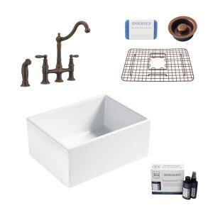 Wilcox II All-in-One Fireclay 24 in. Single Bowl Farmhouse Apron Kitchen Sink with Pfister Bridge Faucet in Bronze