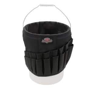 Wrench Boss 5 Gal. Bucket Tool Organizer with 36 Pockets for Wrench Sets and Open Center Bulk Storage in Black