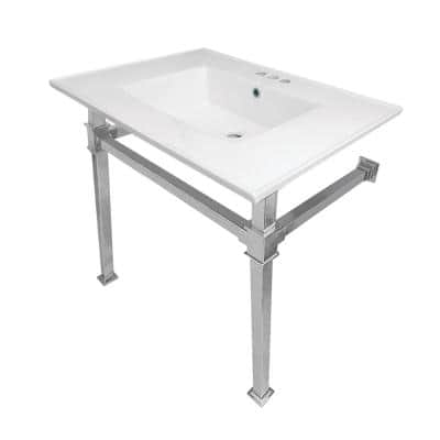 Monarch 31 in. Ceramic Console Sink with 4 in. Faucet Drilling in White and Polished Chrome