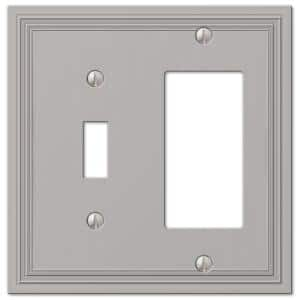 Hallcrest 2 Gang 1-Toggle and 1-Rocker Metal Wall Plate - Satin Nickel