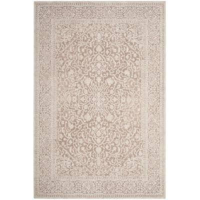 Reflection Beige/Cream 6 ft. x 9 ft. Distressed Floral Area Rug