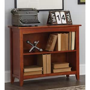 30 in. Cherry Wood 2-shelf Standard Bookcase with Storage