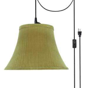 1-Light Black Plug-In Swag Pendant with Brown-Green Bell Fabric Shade