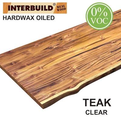 Teak 7 ft. L x 25 in. D x 1.2 in. T Full Length Lamella Panel Stain Butcher Block Countertop in Clear Oil Stain