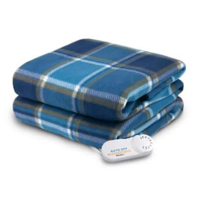 4440 Series Blue Plaid Color 1-Size 50 in. x 62 in. Comfort Knit Heated throw
