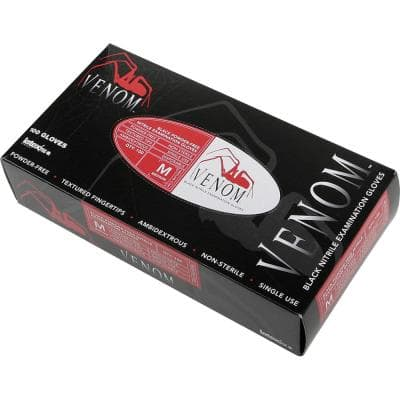Venom Black Nonsterile Powder Free Nitrile Gloves (50-Pairs)