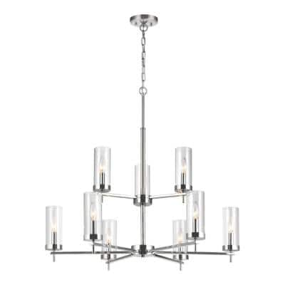 Zire 9-Light Chrome Modern Minimalist Hanging Candlestick Chandelier with Clear Glass Shades