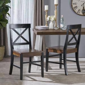 Roshan Black and Walnut Acacia Wood Dining Chairs (Set of 2)