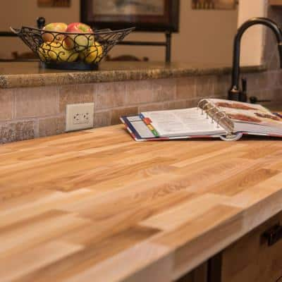 Unfinished Ash 8 ft. L x 25 in. D x 1.5 in. T Butcher Block Countertop