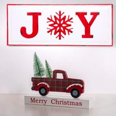 12.81 in. L Multi-Color Wooden/Metal Red Truck Table Decor