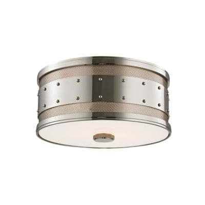 Stevens 12 in. Polished Nickel Flush Mount with Frosted InsideClear Outside Glass