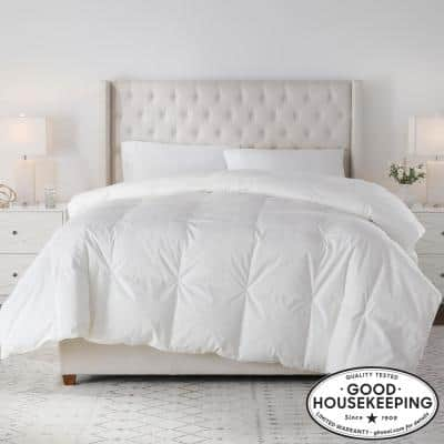 Medium Weight Down White Cotton Twin Comforter