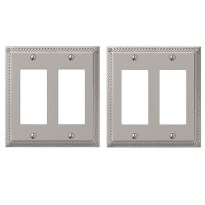 Georgian 2 Gang Rocker Metal Wall Plate - Satin Nickel (2-Pack)