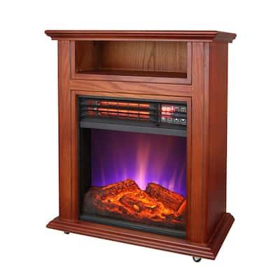 1500-Watt Infrared Quartz Electric Fireplace with French Walnut Finish