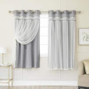 Best Home Fashion Dark Grey 63 In L Elis Lace Overlay Blackout Curtain Panel 2 Pack Grom Bo Elis 63 Dark Grey The Home Depot