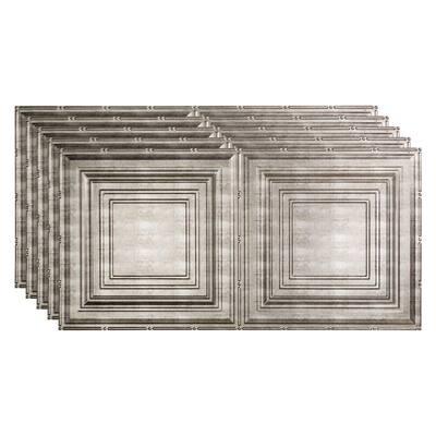 Traditional #3 2 ft. x 4 ft. Glue Up Vinyl Ceiling Tile in Vintage Metal (40 sq. ft.)