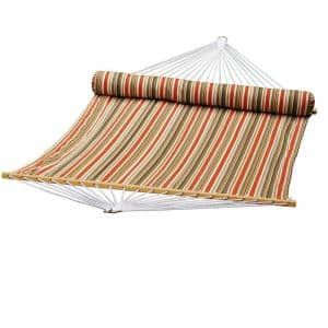 13 ft. Quilted Reversible Hammock in Orange Stripe with Matching Pillow
