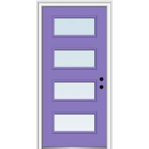 32 in. x 80 in. Celeste Left-Hand Inswing 4-Lite Clear Low-E Glass Painted Steel Prehung Front Door on 6-9/16 in. Frame