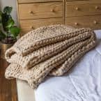 Taupe Acrylic Chunky Knitted Throw