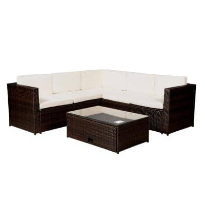 Mondawe Modern Brown 4-pc Wicker Outdoor Garden Patio Furniture Sectional Beige Cushioned Sofa Sets