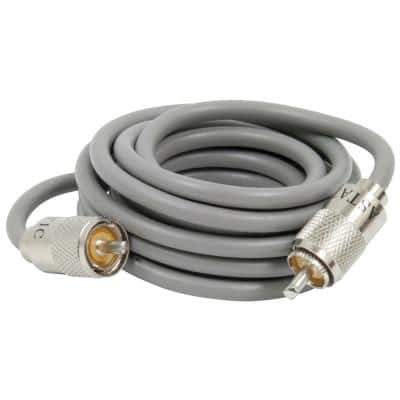 RG8X Cable with PL259 Connectors in Grey (A8X9), 9 ft.