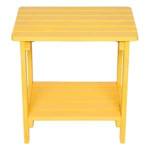 19.75 in. Tall Lemon Yellow HYDRO-TEX Finish Rectangular Cedar Wood Indoor/Outdoor Side Table