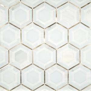 Medici Gold Pattern 10.83 in. x 12.44 in. x 8mm Stone Metal Blend Mesh-Mounted Mosaic Tile (9.4 sq. ft.)