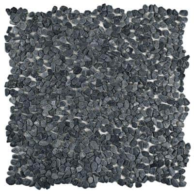 Pebblini Graphite 12-1/4 in. x 12-1/4 in. x 7 mm Pebble Stone Mosaic Tile (10.4 sq. ft./Case)