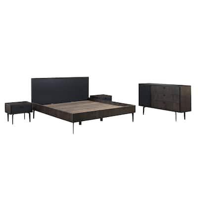 Cross Dark Gray Solid Oak King 4-Piece Bedroom Set