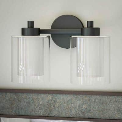 Royce 13 in. 2-Light Black Vanity Light with White and Clear Glass Shade