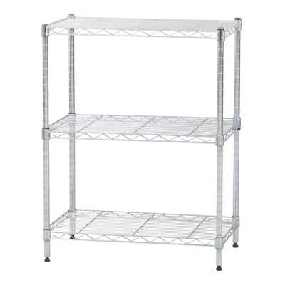 Chrome 3- Tier Metal Wire Garage Storage Shelving Unit 24 in. W x 30 in. H x 14 in. D