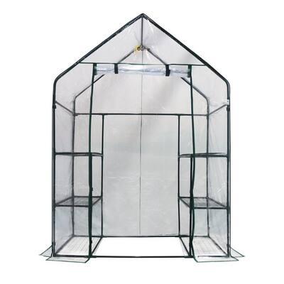 56 in. W x 29 in. D Deluxe Walk-In 3-Tier 6 Shelf Portable Greenhouse