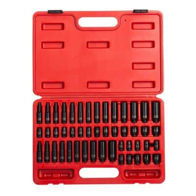1/4 in. Drive SAE and Metric Impact Socket Set (48-Piece)