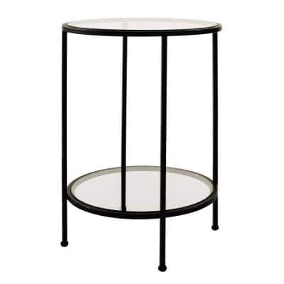 Bella Round Antique Bronze Metal and Glass Accent Table (18 in. W x 24 in. H)