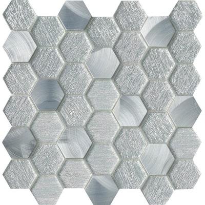 Glitz Glory 11.81 in. x 11.97 in. Honeycomb Glossy Glass Mosaic Tile (0.982 sq. ft./Each)