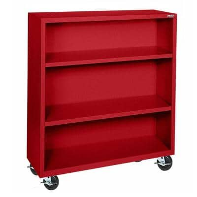 48 in. Red Metal 3-shelf Cart Bookcase with Adjustable Shelves