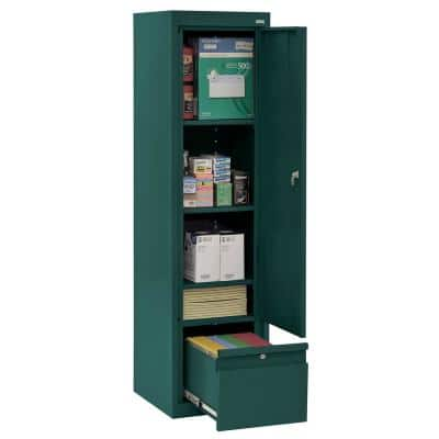 System Series 17 in. W x 64 in. H x 18 in. D Forest Green Single Door Storage Cabinet with File Drawer